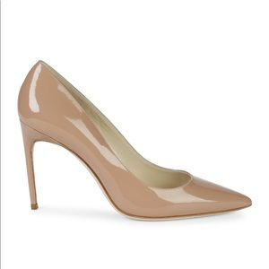 Brian Atwood Nude Patent Leather Pumps